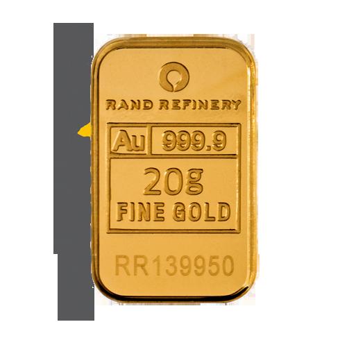 Goldbarren 20 g Rand Refinery Vorderseite
