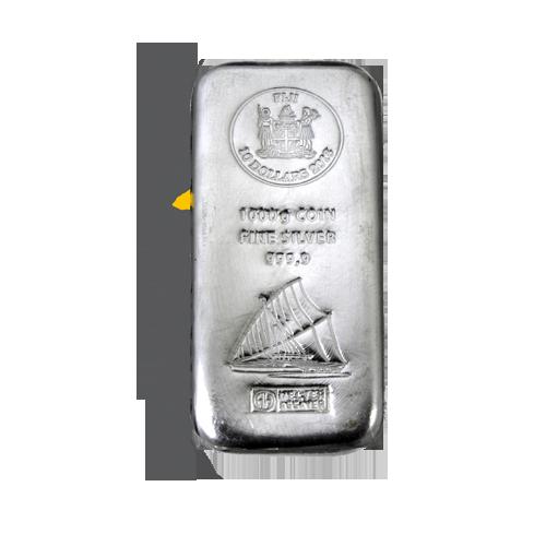 Fiji-Silber-Münzbarren 1 kg Vorderseite
