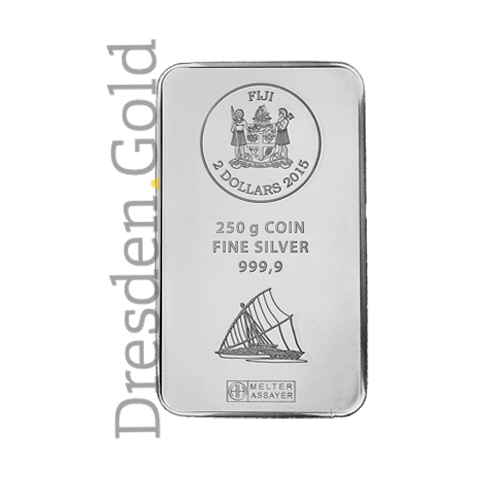 Fiji-Silber-Münzbarren 250 g Vorderseite
