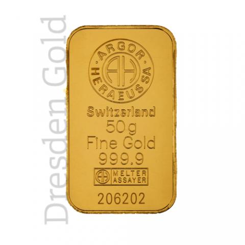Goldbarren 50 g Argor-Heraeus