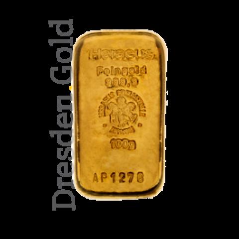 Goldbarren 100 g Heraeus Vorderseite