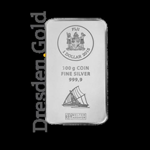 Fiji-Silber-Münzbarren 100 Gramm
