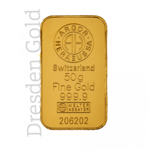 Gold bar 50 g Argor-Heraeus