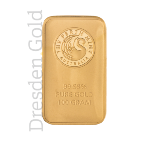 Gold bar 100 grams Perth Mint