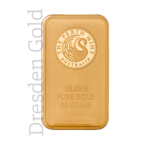 Gold bar 50 grams Perth Mint